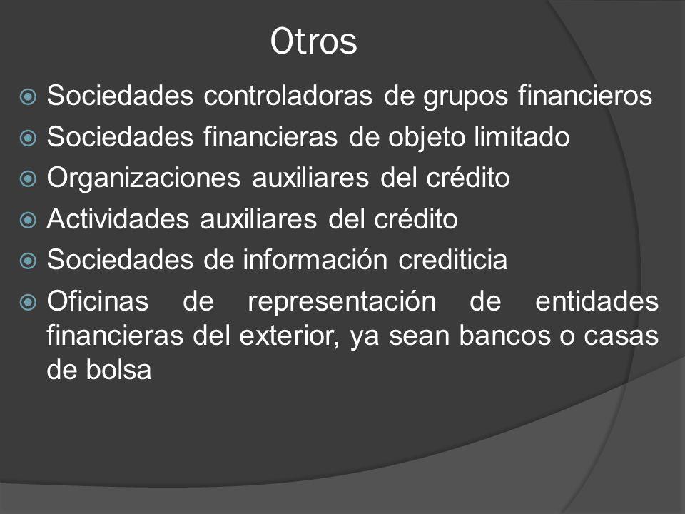 Otros Sociedades controladoras de grupos financieros Sociedades financieras de objeto limitado Organizaciones auxiliares del crédito Actividades auxiliares del crédito Sociedades de información crediticia Oficinas de representación de entidades financieras del exterior, ya sean bancos o casas de bolsa