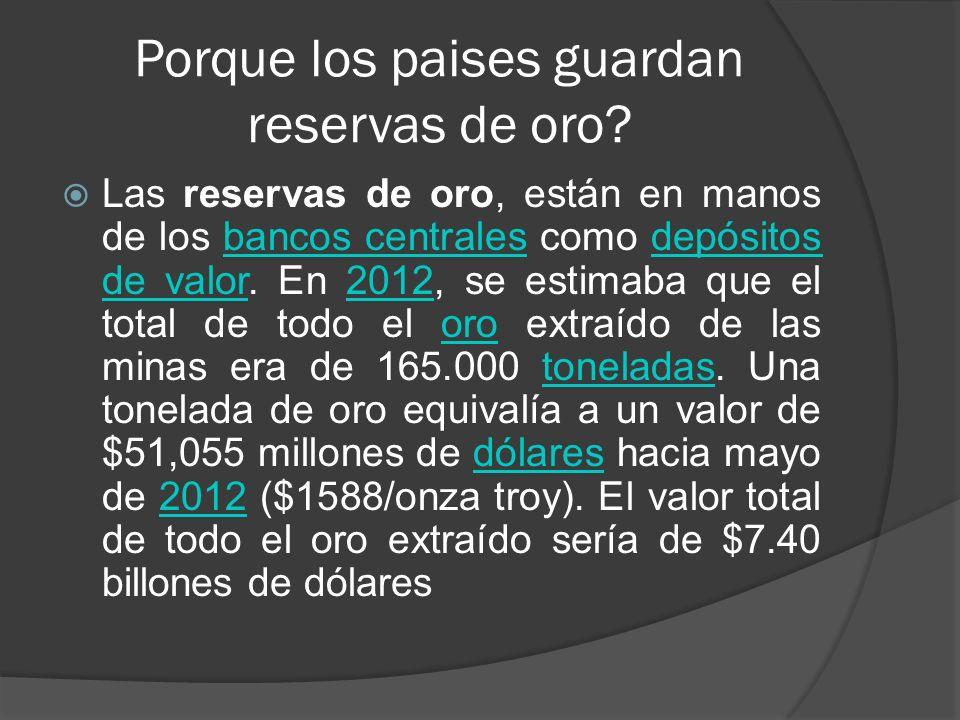 Porque los paises guardan reservas de oro? Las reservas de oro, están en manos de los bancos centrales como depósitos de valor. En 2012, se estimaba q