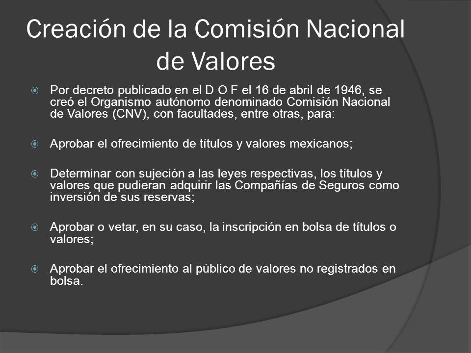 Creación de la Comisión Nacional de Valores Por decreto publicado en el D O F el 16 de abril de 1946, se creó el Organismo autónomo denominado Comisión Nacional de Valores (CNV), con facultades, entre otras, para: Aprobar el ofrecimiento de títulos y valores mexicanos; Determinar con sujeción a las leyes respectivas, los títulos y valores que pudieran adquirir las Compañías de Seguros como inversión de sus reservas; Aprobar o vetar, en su caso, la inscripción en bolsa de títulos o valores; Aprobar el ofrecimiento al público de valores no registrados en bolsa.