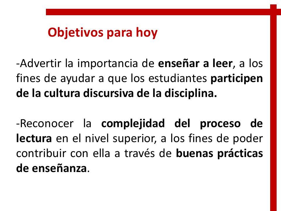 Objetivos para hoy -Advertir la importancia de enseñar a leer, a los fines de ayudar a que los estudiantes participen de la cultura discursiva de la d