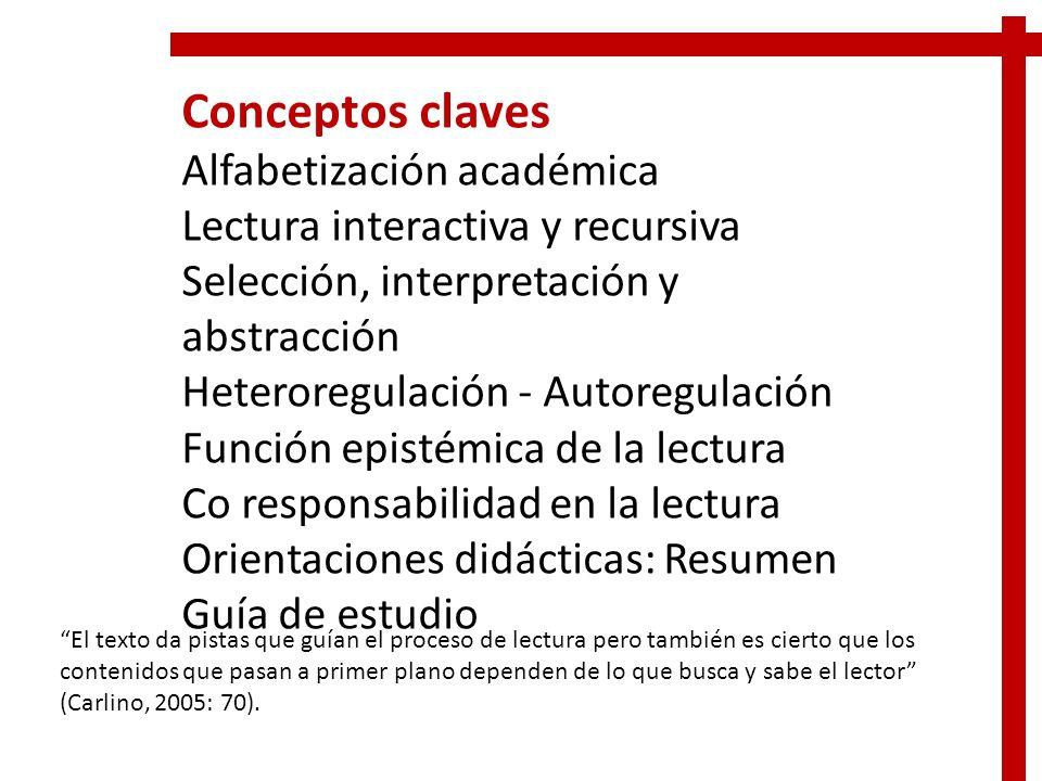 Conceptos claves Alfabetización académica Lectura interactiva y recursiva Selección, interpretación y abstracción Heteroregulación - Autoregulación Fu