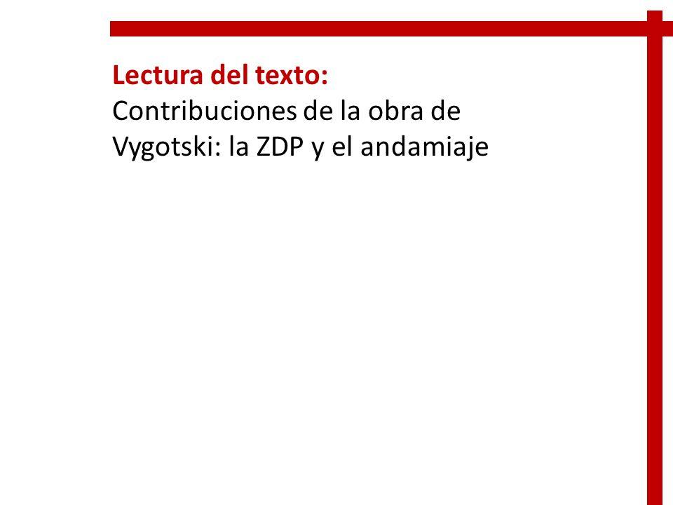 Lectura del texto: Contribuciones de la obra de Vygotski: la ZDP y el andamiaje
