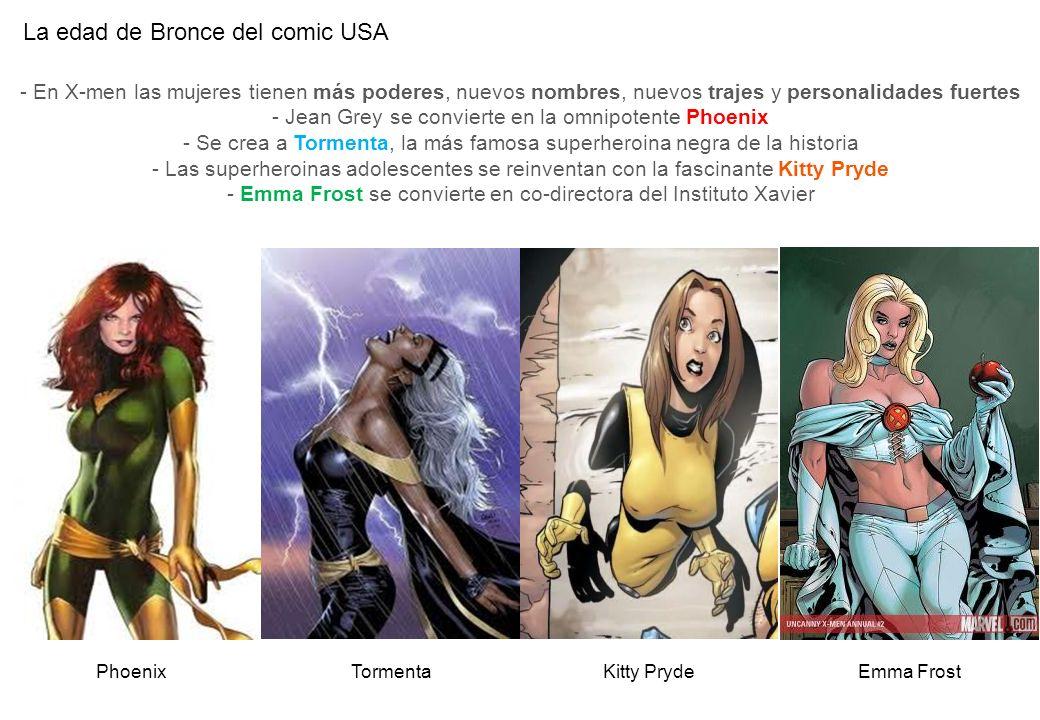La edad de Bronce del comic USA TormentaEmma FrostPhoenix - En X-men las mujeres tienen más poderes, nuevos nombres, nuevos trajes y personalidades fu