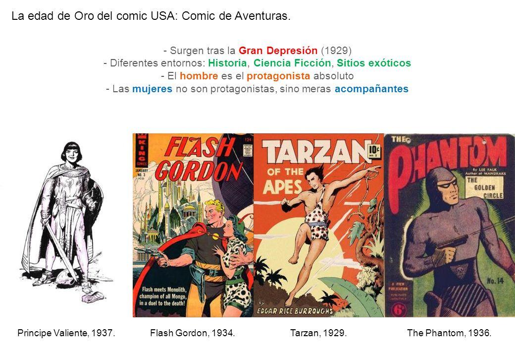 La edad de Oro del comic USA: Comic de Aventuras. - Surgen tras la Gran Depresión (1929) - Diferentes entornos: Historia, Ciencia Ficción, Sitios exót
