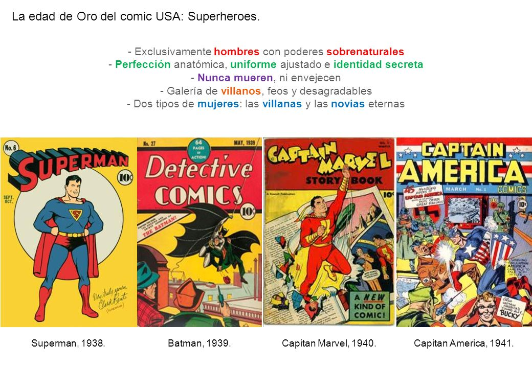 La edad de Oro del comic USA: Superheroes. Capitan Marvel, 1940.Capitan America, 1941.Superman, 1938.Batman, 1939. - Exclusivamente hombres con podere