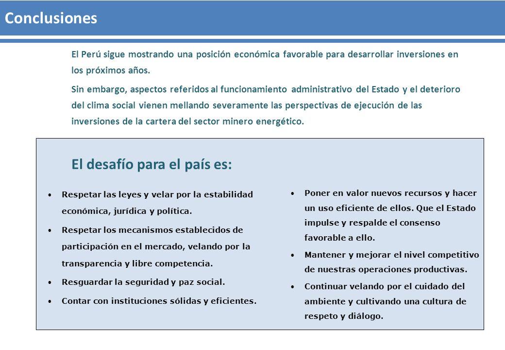 El Perú sigue mostrando una posición económica favorable para desarrollar inversiones en los próximos años. Sin embargo, aspectos referidos al funcion