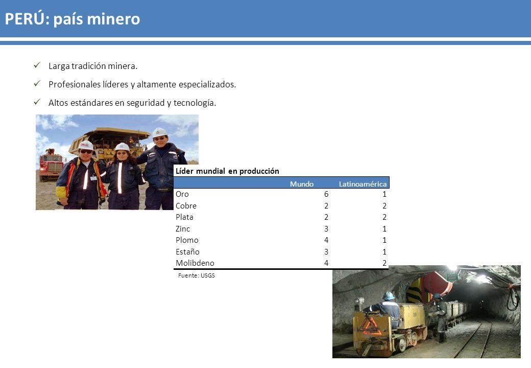 Fuente: MEM Cartera de proyectos mineros US$ 53,423 millones Millones de US$ Cobre 35,42966.3% Oro 6,92313.0% Hierro 6,78012.7% Cobre-zinc 1,2882.4% Zinc 7901.5% Plata 5741.1% Oro-plata 4260.8% Otros 1,2132.3%