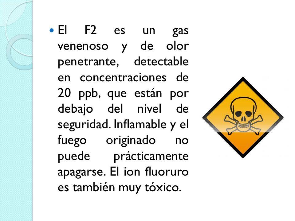 El F2 es un gas venenoso y de olor penetrante, detectable en concentraciones de 20 ppb, que están por debajo del nivel de seguridad. Inflamable y el f