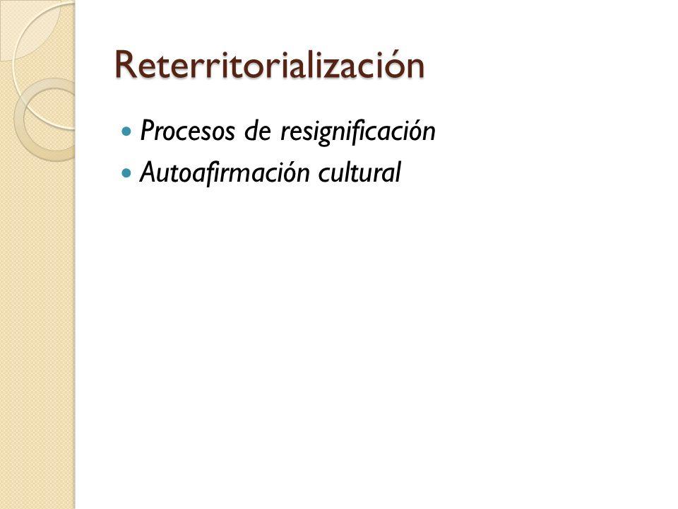 Reterritorialización Procesos de resignificación Autoafirmación cultural