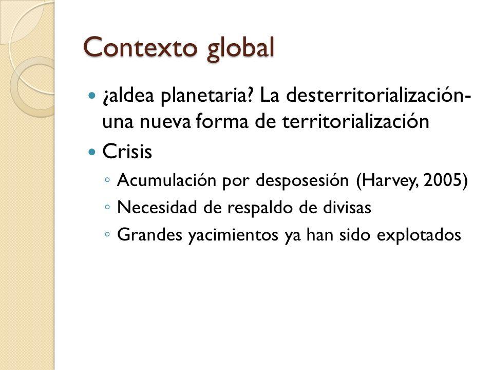 Contexto global ¿aldea planetaria? La desterritorialización- una nueva forma de territorialización Crisis Acumulación por desposesión (Harvey, 2005) N