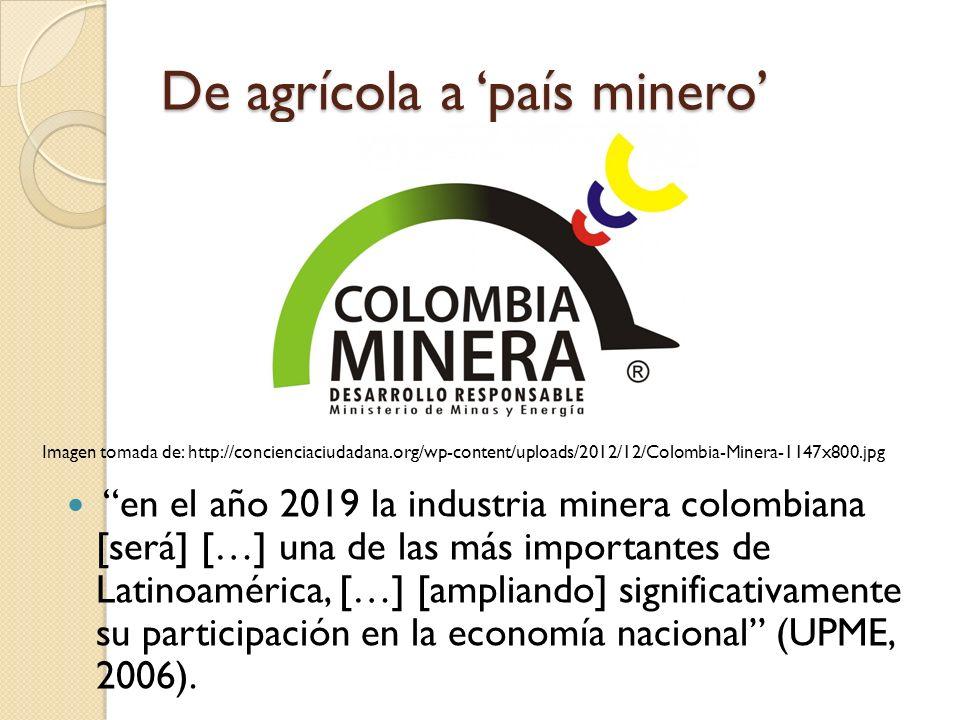 De agrícola a país minero en el año 2019 la industria minera colombiana [será] […] una de las más importantes de Latinoamérica, […] [ampliando] signif