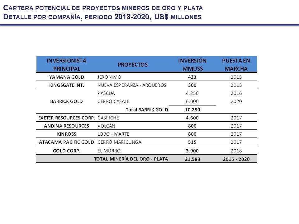 C ARTERA POTENCIAL DE PROYECTOS MINEROS DE ORO Y PLATA D ETALLE POR COMPAÑÍA, PERIODO 2013-2020, US$ MILLONES