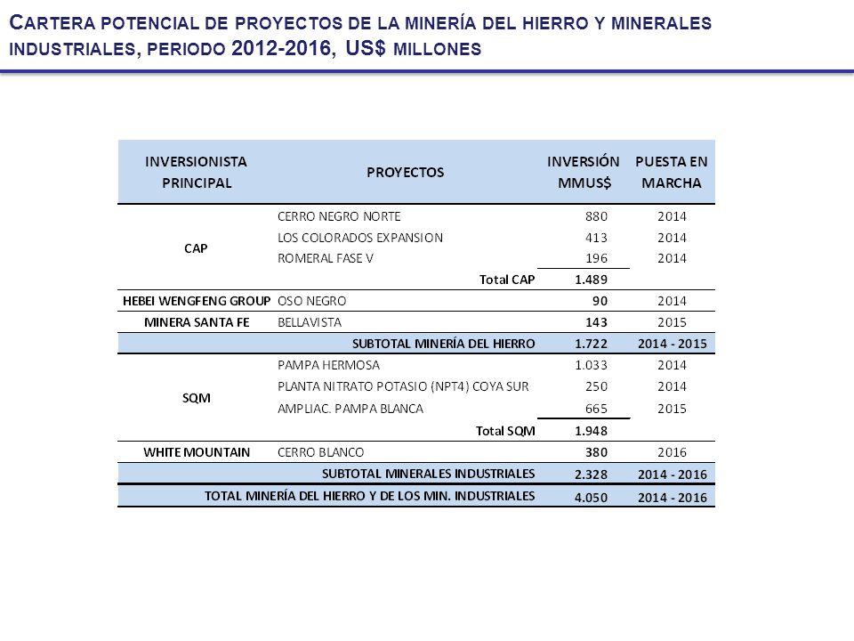 C ARTERA POTENCIAL DE PROYECTOS DE LA MINERÍA DEL HIERRO Y MINERALES INDUSTRIALES, PERIODO 2012-2016, US$ MILLONES