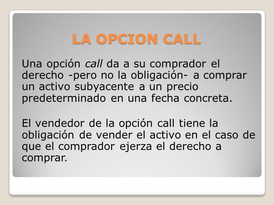 LA OPCION CALL Una opción call da a su comprador el derecho -pero no la obligación- a comprar un activo subyacente a un precio predeterminado en una f