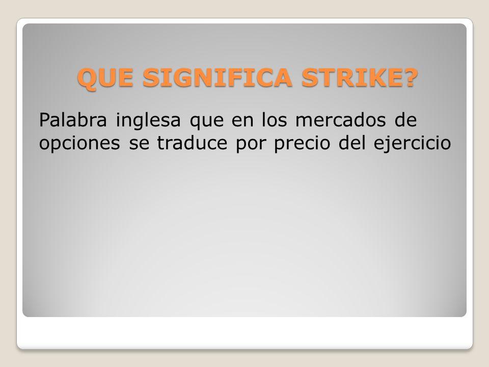 QUE SIGNIFICA STRIKE? Palabra inglesa que en los mercados de opciones se traduce por precio del ejercicio