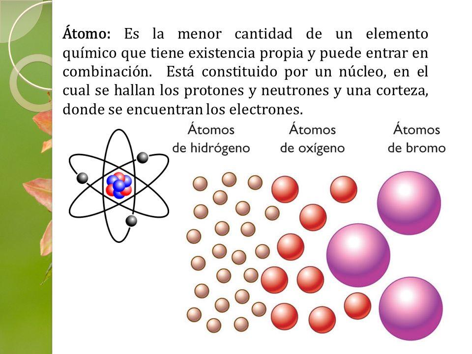 Átomo: Es la menor cantidad de un elemento químico que tiene existencia propia y puede entrar en combinación. Está constituido por un núcleo, en el cu