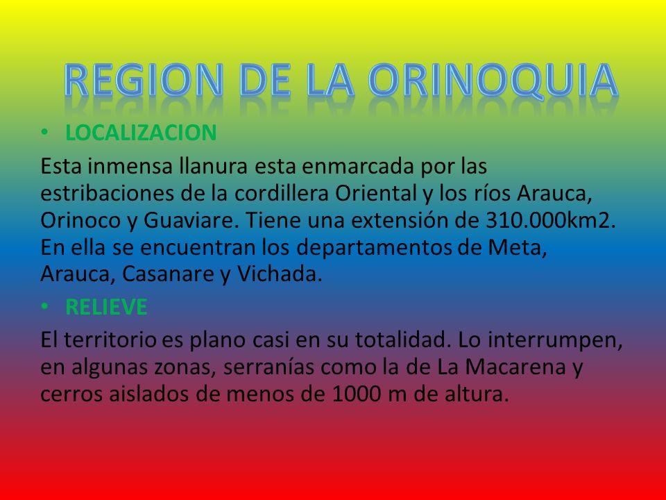 LOCALIZACION Esta inmensa llanura esta enmarcada por las estribaciones de la cordillera Oriental y los ríos Arauca, Orinoco y Guaviare. Tiene una exte