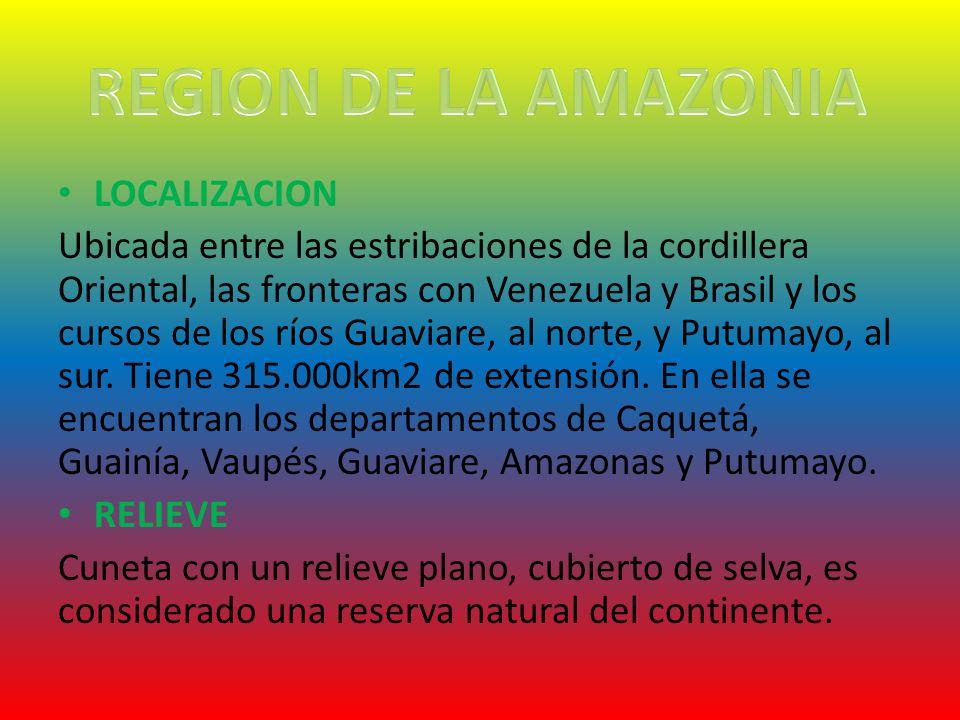 LOCALIZACION Ubicada entre las estribaciones de la cordillera Oriental, las fronteras con Venezuela y Brasil y los cursos de los ríos Guaviare, al nor