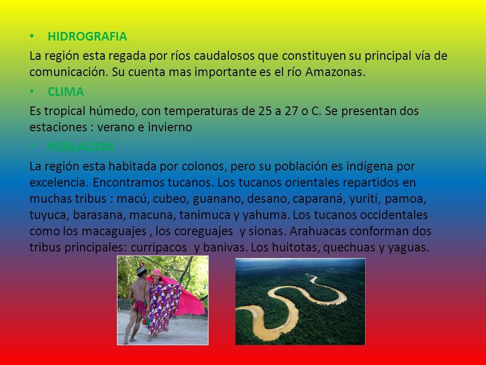 HIDROGRAFIA La región esta regada por ríos caudalosos que constituyen su principal vía de comunicación. Su cuenta mas importante es el río Amazonas. C