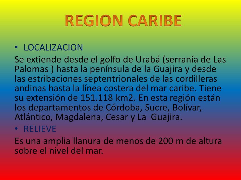LOCALIZACION Se extiende desde el golfo de Urabá (serranía de Las Palomas ) hasta la península de la Guajira y desde las estribaciones septentrionales