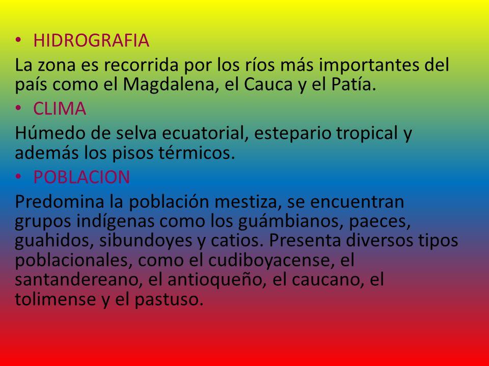 HIDROGRAFIA La zona es recorrida por los ríos más importantes del país como el Magdalena, el Cauca y el Patía. CLIMA Húmedo de selva ecuatorial, estep