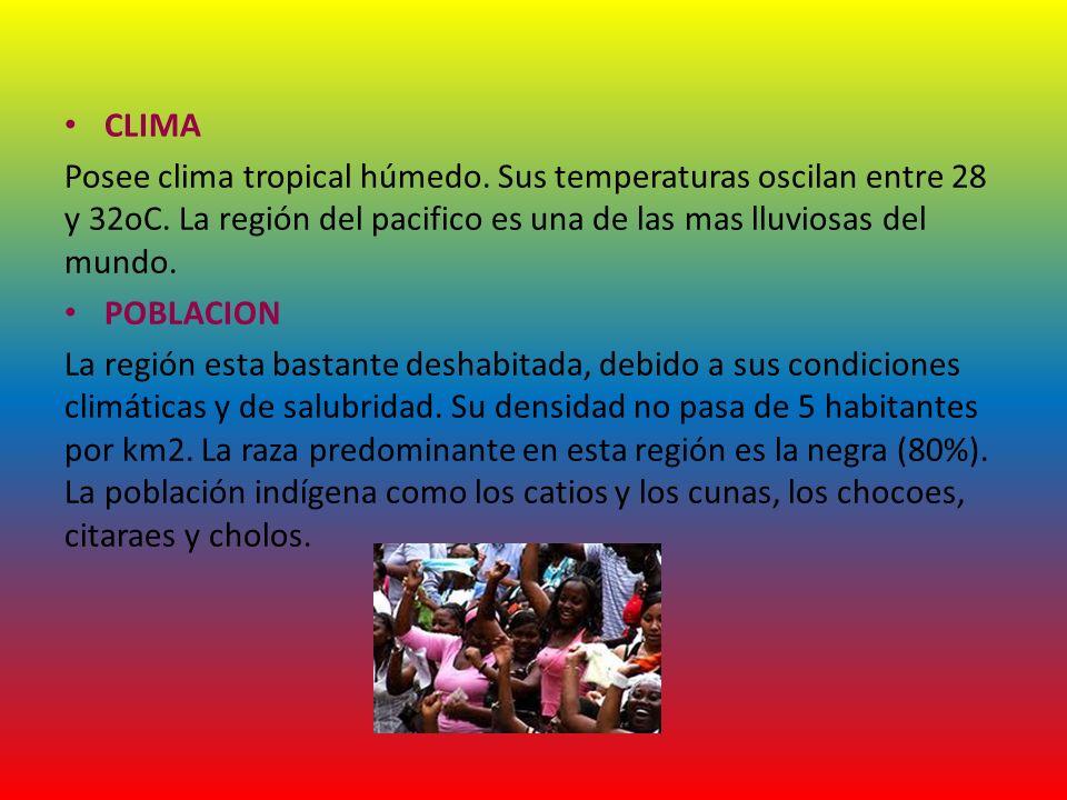 CLIMA Posee clima tropical húmedo. Sus temperaturas oscilan entre 28 y 32oC. La región del pacifico es una de las mas lluviosas del mundo. POBLACION L