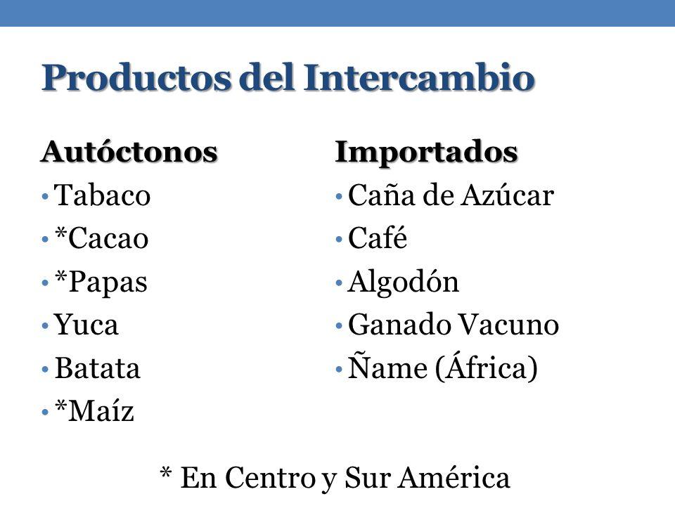 Productos del Intercambio Autóctonos Tabaco *Cacao *Papas Yuca Batata *MaízImportados Caña de Azúcar Café Algodón Ganado Vacuno Ñame (África) * En Cen