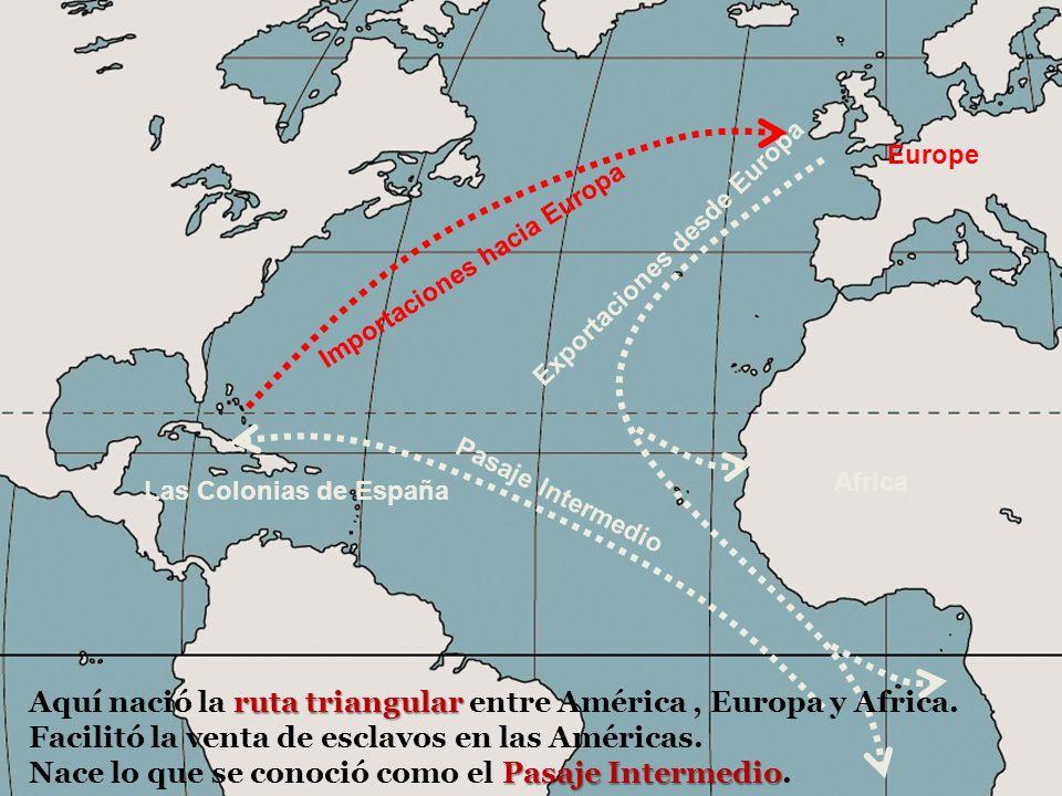 Africa Europe Pasaje Intermedio Exportaciones desde Europa Importaciones hacia Europa Las Colonias de España ruta triangular Aquí nació la ruta triangular entre América, Europa y Africa.