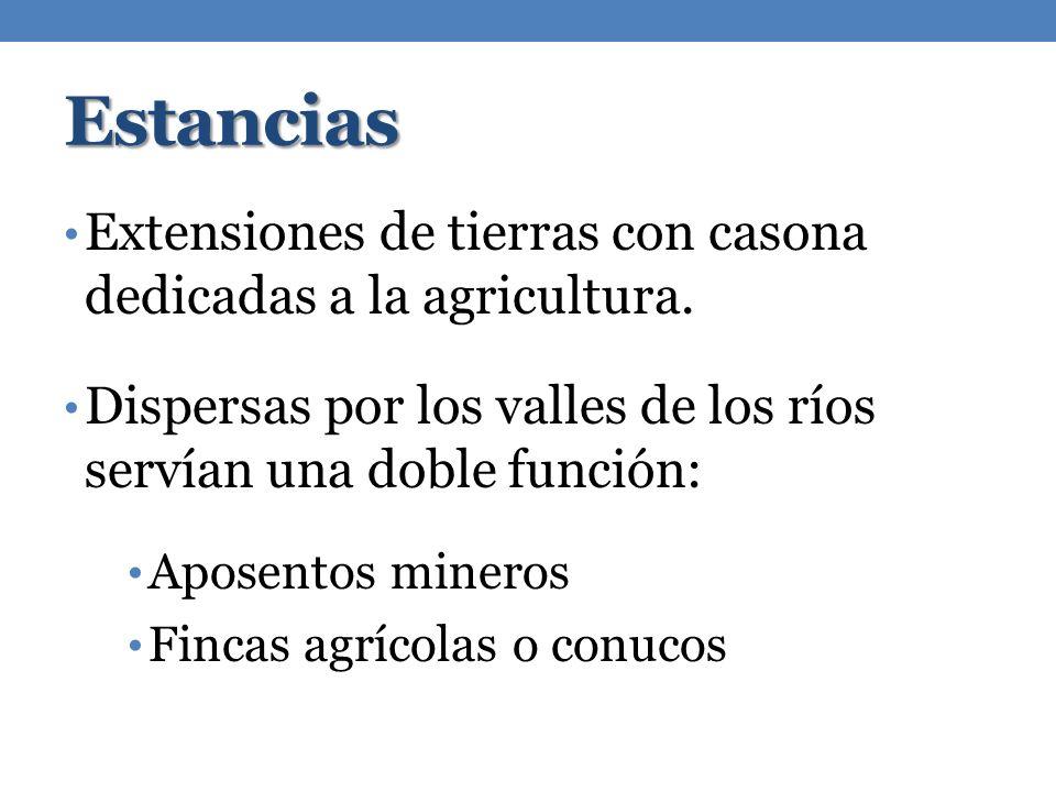 Estancias Extensiones de tierras con casona dedicadas a la agricultura. Dispersas por los valles de los ríos servían una doble función: Aposentos mine