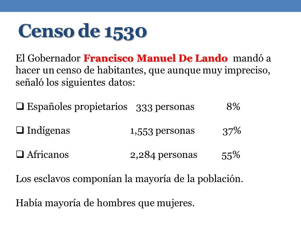 Censo de 1530 Francisco Manuel De Lando El Gobernador Francisco Manuel De Lando mandó a hacer un censo de habitantes, que aunque muy impreciso, señaló los siguientes datos: Españoles propietarios333 personas8% Indígenas 1,553 personas 37% Africanos 2,284 personas 55% Los esclavos componían la mayoría de la población.