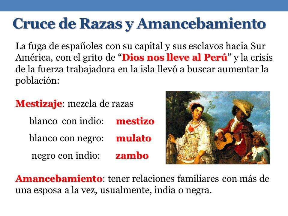 Cruce de Razas y Amancebamiento Dios nos lleve al Perú La fuga de españoles con su capital y sus esclavos hacia Sur América, con el grito de Dios nos