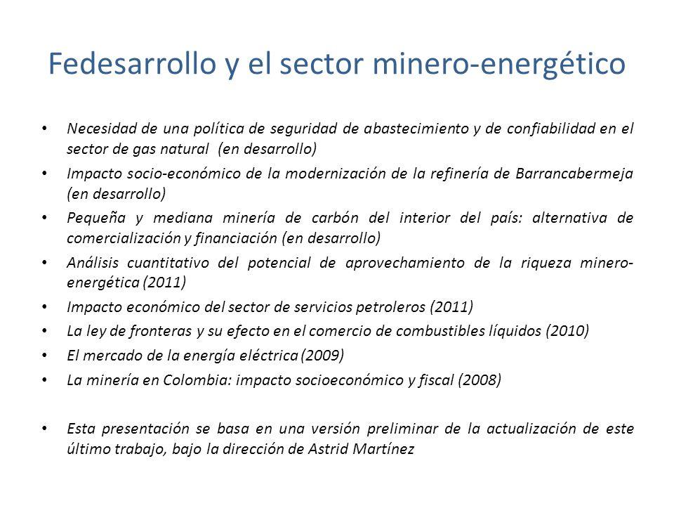 Fedesarrollo y el sector minero-energético Necesidad de una política de seguridad de abastecimiento y de confiabilidad en el sector de gas natural (en desarrollo) Impacto socio-económico de la modernización de la refinería de Barrancabermeja (en desarrollo) Pequeña y mediana minería de carbón del interior del país: alternativa de comercialización y financiación (en desarrollo) Análisis cuantitativo del potencial de aprovechamiento de la riqueza minero- energética (2011) Impacto económico del sector de servicios petroleros (2011) La ley de fronteras y su efecto en el comercio de combustibles líquidos (2010) El mercado de la energía eléctrica (2009) La minería en Colombia: impacto socioeconómico y fiscal (2008) Esta presentación se basa en una versión preliminar de la actualización de este último trabajo, bajo la dirección de Astrid Martínez