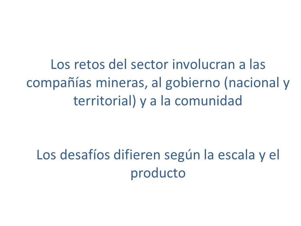 Los retos del sector involucran a las compañías mineras, al gobierno (nacional y territorial) y a la comunidad Los desafíos difieren según la escala y el producto