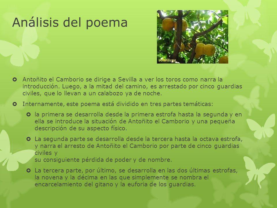 Análisis del poema Antoñito el Camborio se dirige a Sevilla a ver los toros como narra la introducción. Luego, a la mitad del camino, es arrestado por