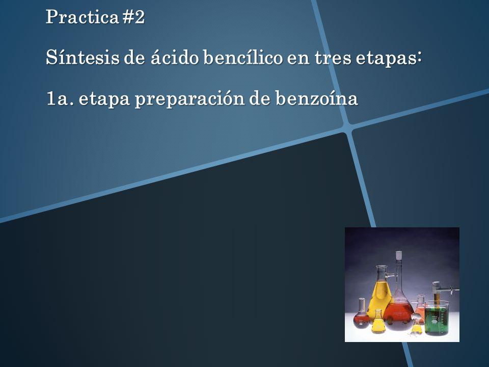 Practica #2 Síntesis de ácido bencílico en tres etapas: 1a. etapa preparación de benzoína