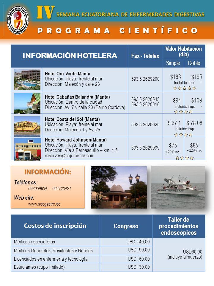 INFORMACIÓN HOTELERA Fax - Telefax Valor Habitación (día) SimpleDoble Hotel Oro Verde Manta Ubicación: Playa: frente al mar Dirección: Malecón y calle