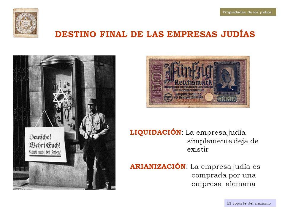 COMPLEMENTO DE LA «ARIANIZACIÓN VOLUNTARIA» EN EL REICH: DECRETOS FINALES, ENTRE JULIO Y DICIEMBRE DE 1938, DE LIQUIDACIÓN Y ARIANIZACIÓN FORZOSA LIQUIDACIÓN Por los Decretos de 6 de julio, 27 de julio y 27 de septiembre de 1938 se ordena el cese de la actividad, antes del 31 de diciembre de 1938, de las empresas de Servicios (seguridad, agencias inmobiliarias, turísticas, matrimoniales, etc.), Médicos y Abogados ARIANIZACIÓN FORZOSA Por el Decreto de 12 de noviembre y su Orden del 23 del mismo mes, a partir del 31 de diciembre de 1938 se prohíbe cualquier actividad a los establecimientos de venta al por menor Por el Decreto del 3 de diciembre de 1938, se ordena a los judíos el depósito de los activos financieros en las oficinas regionales del Ministerio de Finanzas, y la venta de los elementos de mayor interés económico, como son: las empresas industriales y las propiedades inmobiliarias.