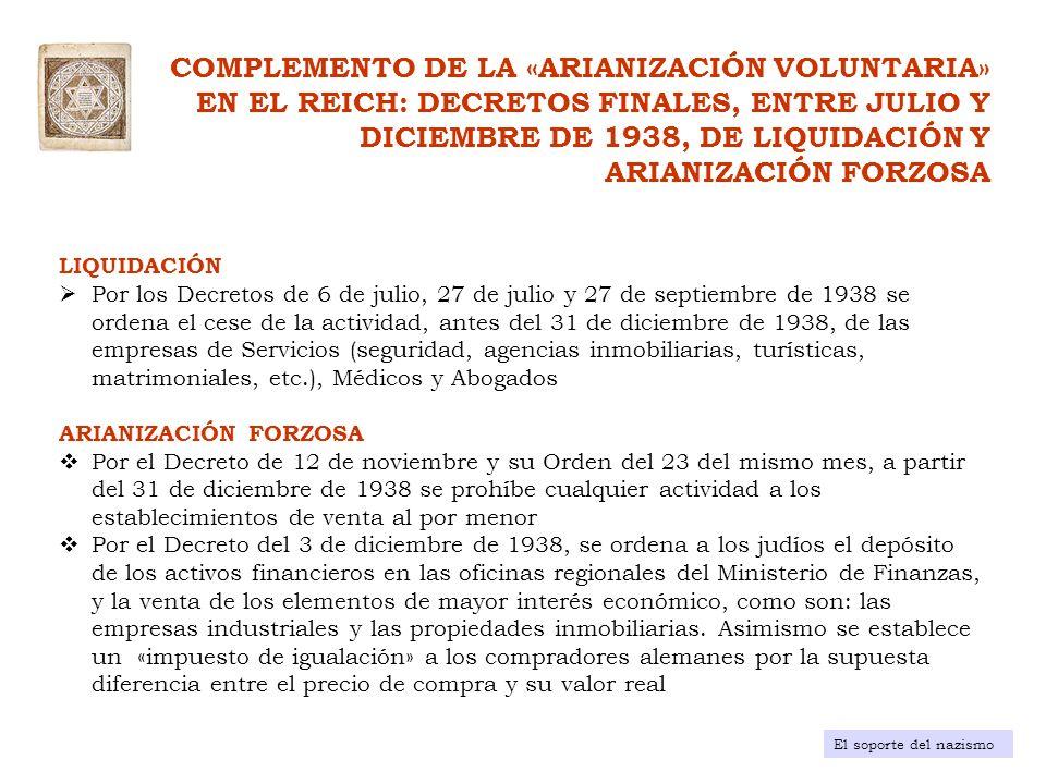 «IMPUESTO SOBRE LA SALIDA DEL REICH» Propiedades de los judíos El soporte del nazismo DISPOSICIÓN ADMINISTRATIVA DECRETO de 8 de diciembre de 1931 18 de mayo de 1934 (modificación al Decreto de 8 diciembre de 1931 ) AFECTADOS Y CONDICIONES Todos los nacionales alemanes (judíos y no judíos) que, a 31 de enero de 1931, tuviesen un patrimonio > 200.000 RM o con una renta durante ese año de 1931 > 20.000 RM Disminución del umbral del patrimonio a 50.000 RM o con una renta superior a 20.000 RM durante 1931 o los años posteriores OBJETIVO «Disuadir» la emigraciónFacilitar la emigración CANTIDAD A PAGAR 25% del patrimonio a la fecha de la emigración RECAUDACIÓN 3 millones de RM hasta enero de 1933 y 900 millones de RM desde 1933 a 1944, de los cuales, 600 millones de RM fueron recaudados en los ejercicios fiscales de 1938 a 1940