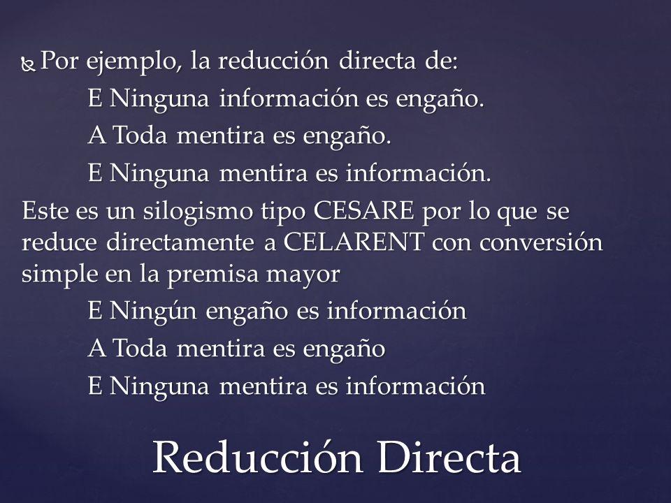 Por ejemplo, la reducción directa de: Por ejemplo, la reducción directa de: E Ninguna información es engaño. A Toda mentira es engaño. E Ninguna menti