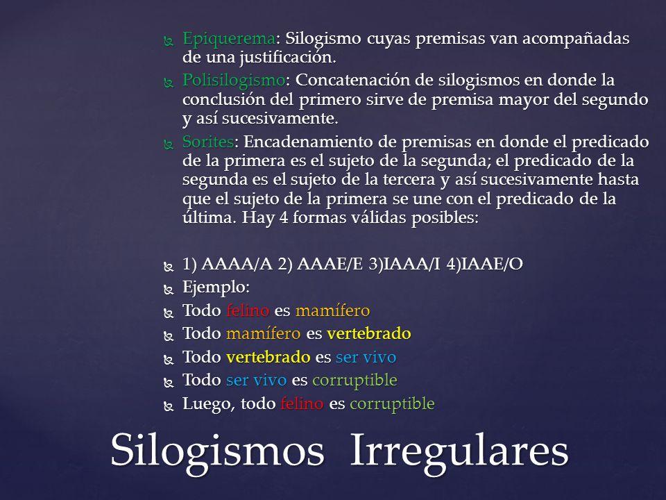 Epiquerema: Silogismo cuyas premisas van acompañadas de una justificación. Epiquerema: Silogismo cuyas premisas van acompañadas de una justificación.