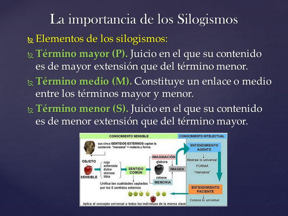 La importancia de los Silogismos Elementos de los silogismos: Elementos de los silogismos: Término mayor (P). Juicio en el que su contenido es de mayo