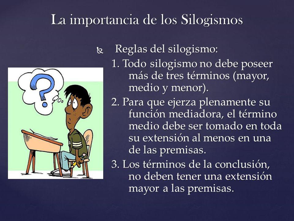 La importancia de los Silogismos Reglas del silogismo: Reglas del silogismo: 1. Todo silogismo no debe poseer más de tres términos (mayor, medio y men