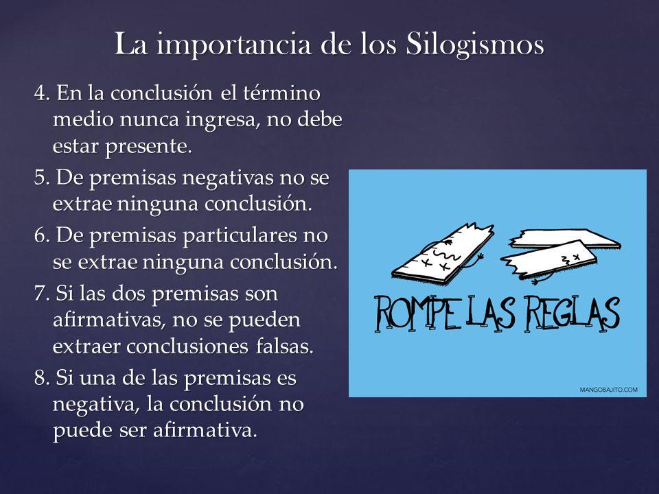 La importancia de los Silogismos 4. En la conclusión el término medio nunca ingresa, no debe estar presente. 5. De premisas negativas no se extrae nin