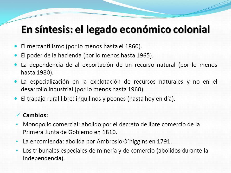 En síntesis: el legado económico colonial El mercantilismo (por lo menos hasta el 1860). El poder de la hacienda (por lo menos hasta 1965). La depende
