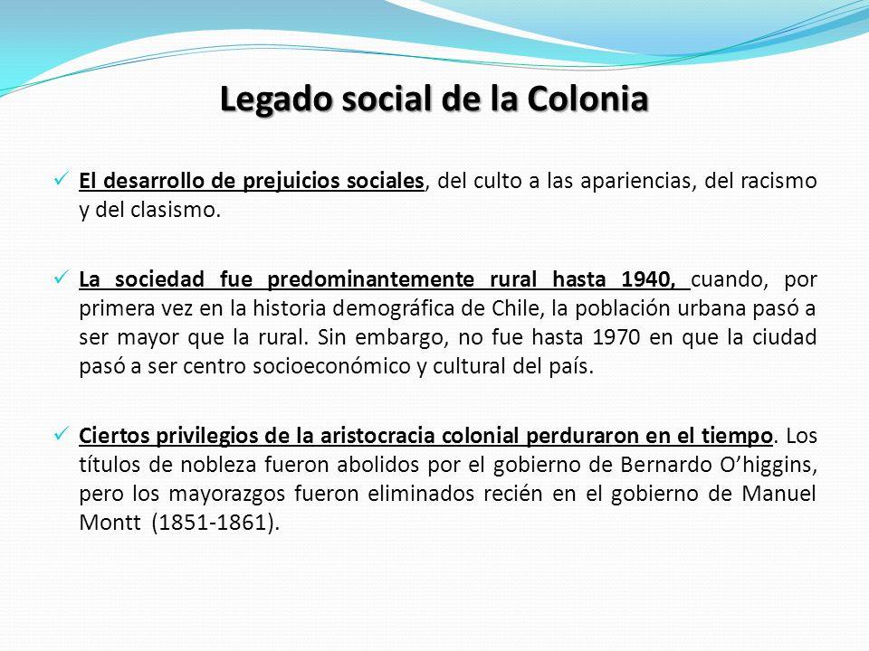 Legado social de la Colonia El desarrollo de prejuicios sociales, del culto a las apariencias, del racismo y del clasismo. La sociedad fue predominant