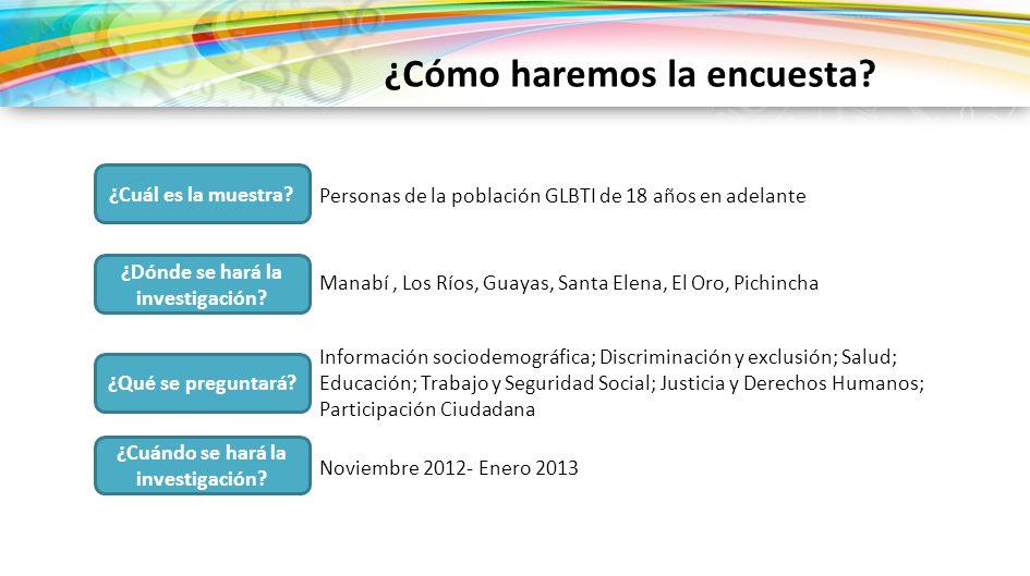 ¿Cuál es la muestra? Personas de la población GLBTI de 18 años en adelante ¿Cuándo se hará la investigación? Noviembre 2012- Enero 2013 ¿Qué se pregun