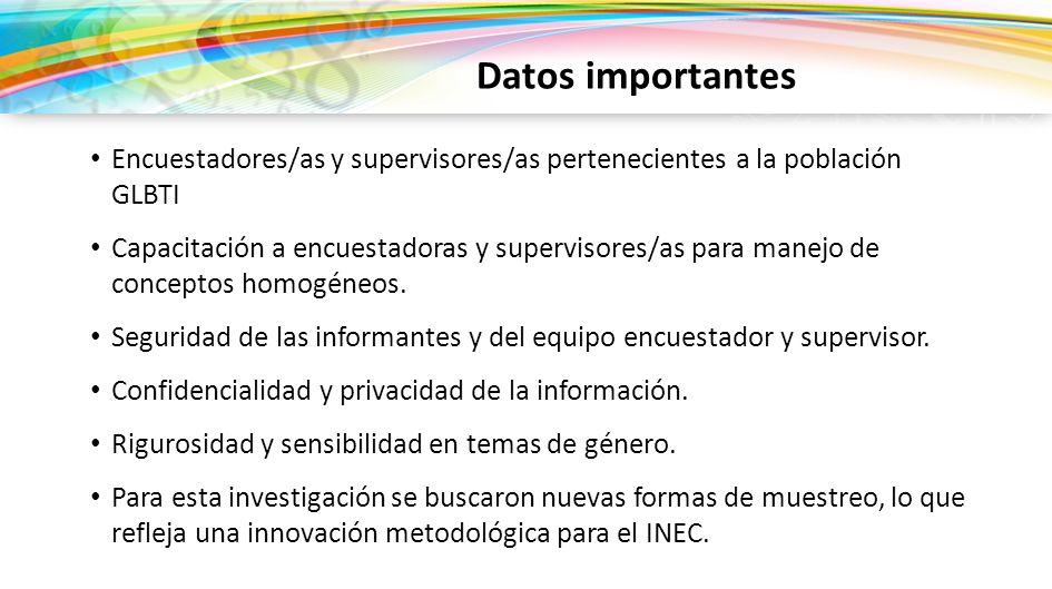 Encuestadores/as y supervisores/as pertenecientes a la población GLBTI Capacitación a encuestadoras y supervisores/as para manejo de conceptos homogén