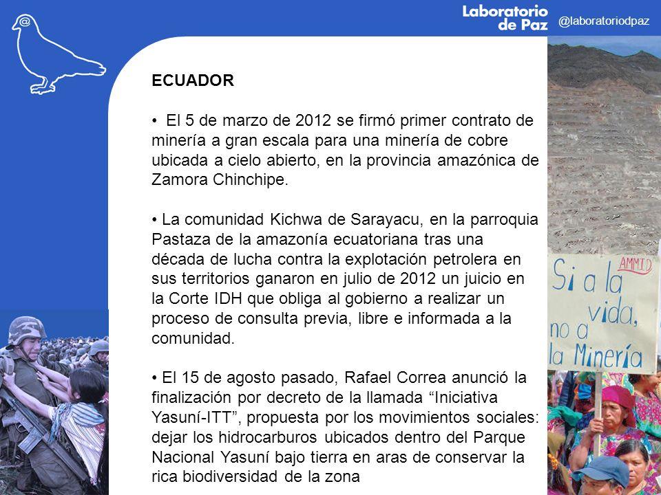 @laboratoriodpaz ECUADOR El 5 de marzo de 2012 se firmó primer contrato de minería a gran escala para una minería de cobre ubicada a cielo abierto, en