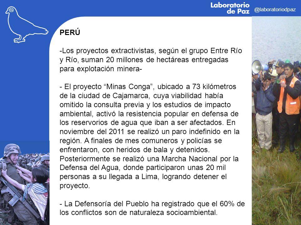 @laboratoriodpaz PERÚ -Los proyectos extractivistas, según el grupo Entre Río y Río, suman 20 millones de hectáreas entregadas para explotación minera