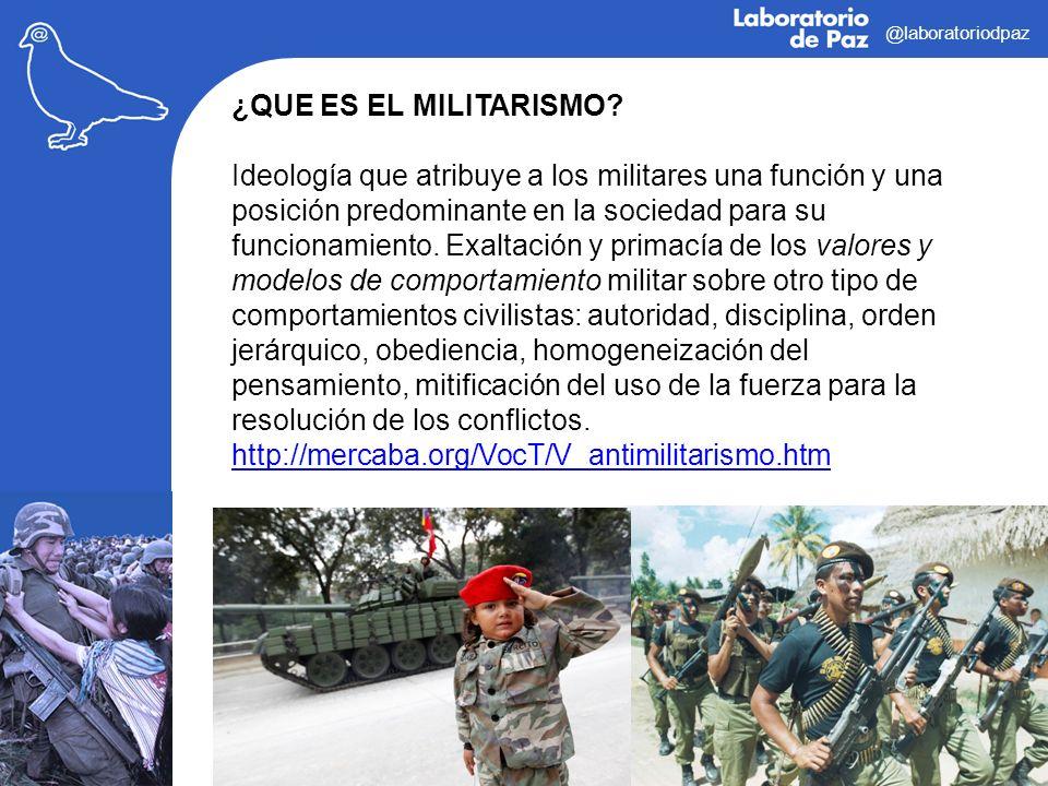 @laboratoriodpaz ¿QUE ES EL MILITARISMO? Ideología que atribuye a los militares una función y una posición predominante en la sociedad para su funcion